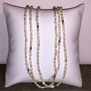 Natural pearl & 14kYG Bead 3 strand necklace